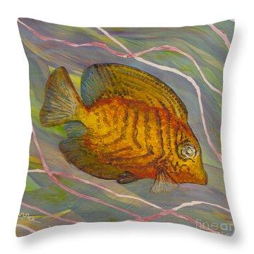 Surgeonfish Throw Pillow by Anna Skaradzinska