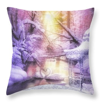Swan Lake Throw Pillow by Mo T