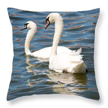 Swans And Swirls Throw Pillow by Carol Groenen