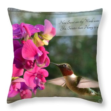 Sweet Pea Hummingbird Iv With Verse Throw Pillow by Debbie Portwood