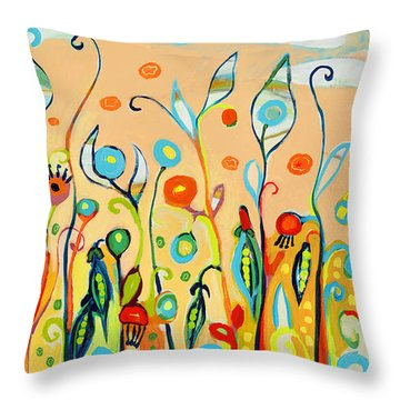 Sweet Peas And Poppies Throw Pillow by Jennifer Lommers