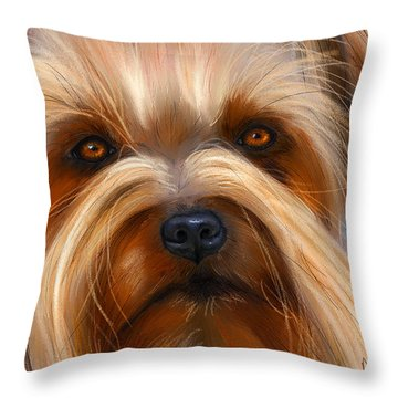Sweet Silky Terrier Portrait Throw Pillow by Michelle Wrighton
