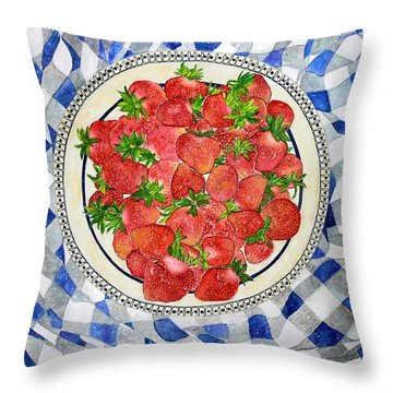 Sweet Strawberries Throw Pillow by Janet Immordino