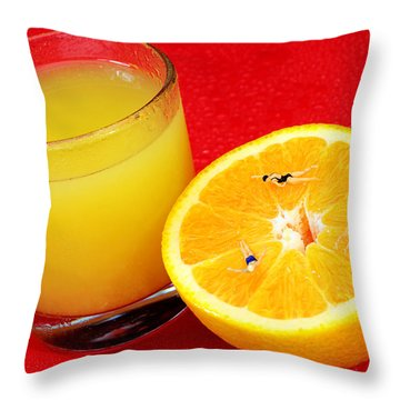 Swimming On Orange Little People On Food Throw Pillow by Paul Ge