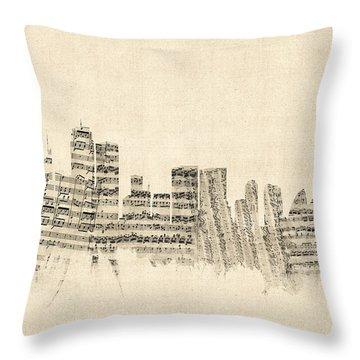 Sydney Australia Skyline Sheet Music Cityscape Throw Pillow by Michael Tompsett