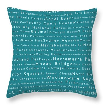 Sydney In Words Teal Throw Pillow by Sabine Jacobs