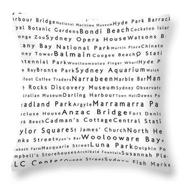 Sydney In Words White Throw Pillow by Sabine Jacobs