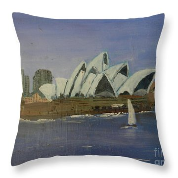 Sydney Opera House Throw Pillow by Pamela  Meredith
