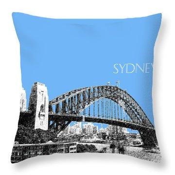 Sydney Skyline 2 Harbor Bridge - Light Blue Throw Pillow by DB Artist
