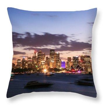 Sydney Skyline At Dusk Australia Throw Pillow by Matteo Colombo