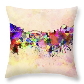 Sydney Skyline In Watercolor Background Throw Pillow by Pablo Romero
