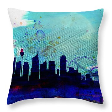 Sydney Watercolor Skyline Throw Pillow by Naxart Studio
