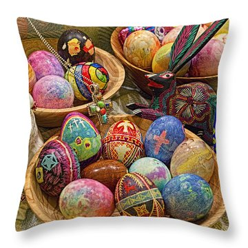 Symbols Of Easter- Spiritual And Secular Throw Pillow by Gary Holmes