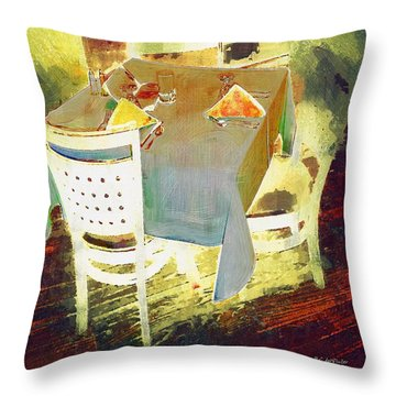 Table At The Fauve Cafe Throw Pillow by RC deWinter