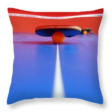 Table Tennis Throw Pillow by Michal Bednarek