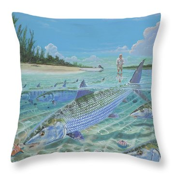 Tailing Bonefish In003 Throw Pillow by Carey Chen