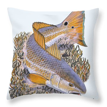 Tailing Redfish Throw Pillow by Carey Chen