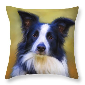 Beautiful Border Collie Portrait Throw Pillow by Michelle Wrighton
