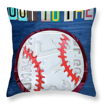 Take Me Out To The Ballgame License Plate Art Lettering Vintage Recycled Sign Throw Pillow by Design Turnpike