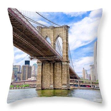 Take The Brooklyn Bridge Into Manhattan Throw Pillow by Mark E Tisdale