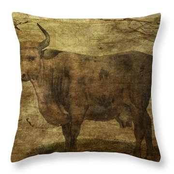 Take The Cow By The Horns Throw Pillow by Sarah Vernon
