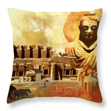 Takhat Bahi Unesco World Heritage Site Throw Pillow by Catf