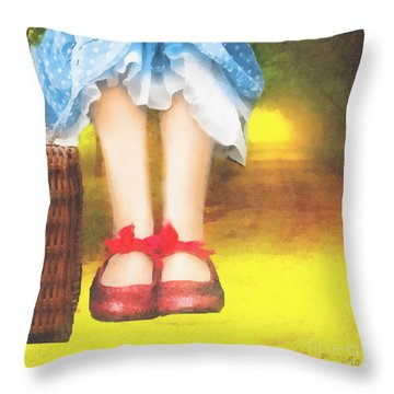 Taking Yellow Path Throw Pillow by Mo T