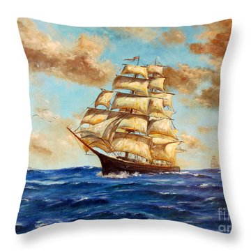 Tall Ship On The South Sea Throw Pillow by Lee Piper