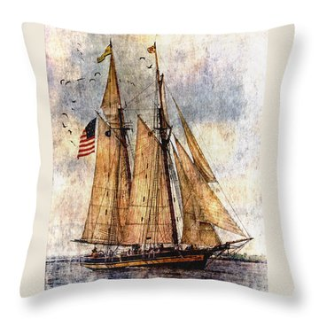 Tall Ships Art Throw Pillow by Dale Kincaid