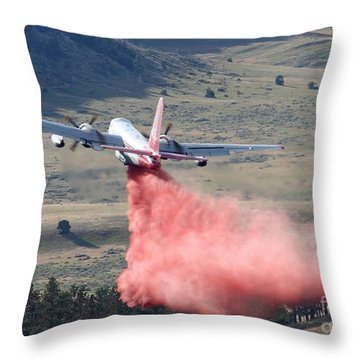 Throw Pillow featuring the photograph Tanker 45 Dropping On Whoopup Fire by Bill Gabbert