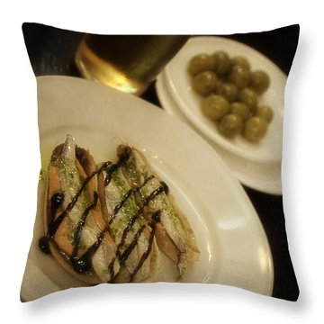 Tapas In Seville Throw Pillow by Mary Machare
