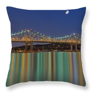 Tappan Zee Bridge Reflections Throw Pillow by Susan Candelario