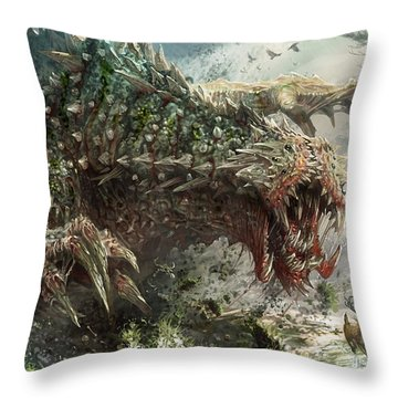 Tarmogoyf Reprint Throw Pillow by Ryan Barger