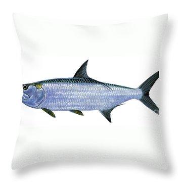 Tarpon Throw Pillow by Carey Chen