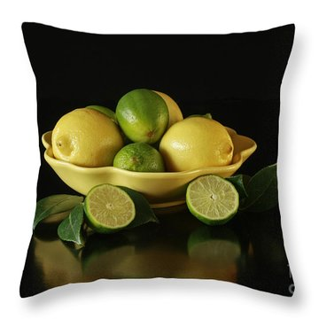 Tart And Tasty With Lemon And Lime Throw Pillow by Inspired Nature Photography Fine Art Photography