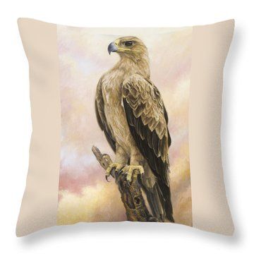 Tawny Eagle Throw Pillow by Lucie Bilodeau