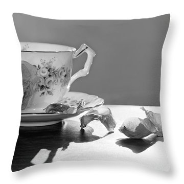 Tea And Roses Still Life Throw Pillow by Lisa Knechtel
