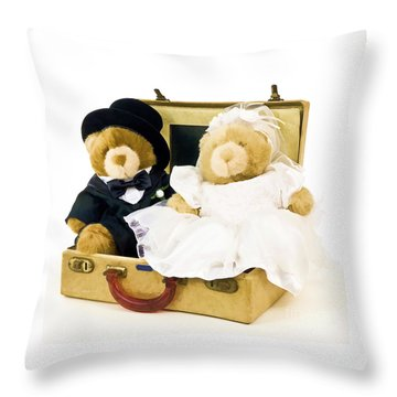 Teddy Bear Honeymoon Throw Pillow by Edward Fielding