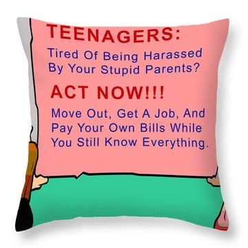 Teenagers Act Now Throw Pillow by Barbara Snyder