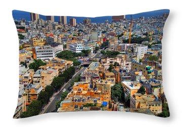 Tel Aviv Eagle Eye View Throw Pillow by Ron Shoshani