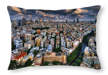 Tel Aviv Lookout Throw Pillow by Ron Shoshani