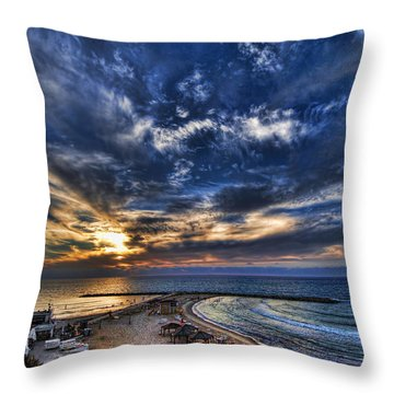 Tel Aviv Sunset At Hilton Beach Throw Pillow by Ron Shoshani