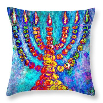 Temple Menorah Throw Pillow by Music of the Heart