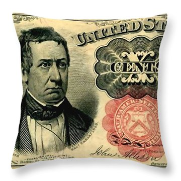 Ten Cents 5th Issue U.s. Fractional Currency Fr 1266 Throw Pillow by Lanjee Chee