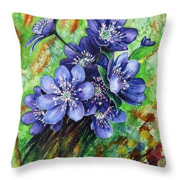 Tenderness Of Spring Throw Pillow by Zaira Dzhaubaeva