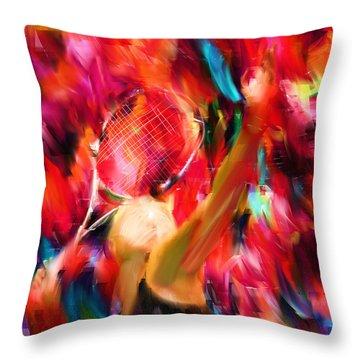 Tennis I Throw Pillow by Lourry Legarde