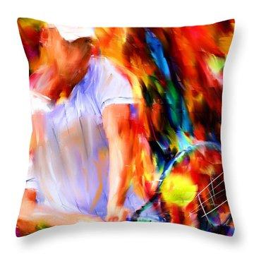 Tennis II Throw Pillow by Lourry Legarde