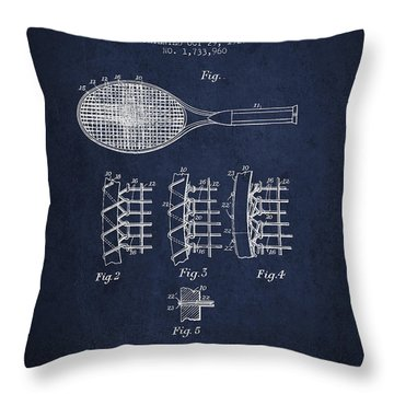 Tennnis Racket Patent Drawing From 1929 Throw Pillow by Aged Pixel