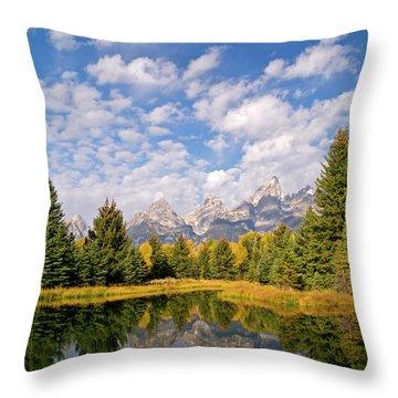 Teton Reflections Throw Pillow by Alex Cassels
