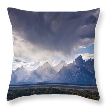 Teton Storm Throw Pillow by Mark Kiver